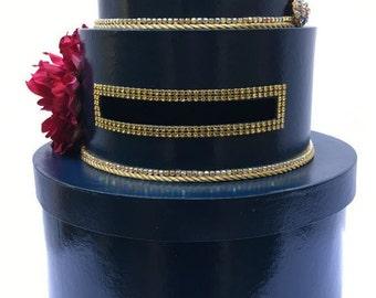 Navy & Gold  Wedding Card Box Bling Blue Ribbon