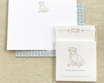 blue doggie note card + enclosure card, 8 of each