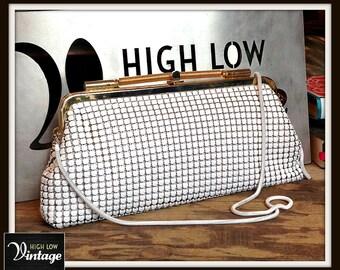 Vintage White Metal Mesh Gold Handbag Shoulder Bag Purse Clutch