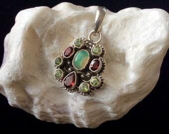 Opal, Garnet, Peridot Pendant, Multi Stone Pendant, Sterling Silver, Chakra Pendant, October, January, August Birthstones, Leather Cord