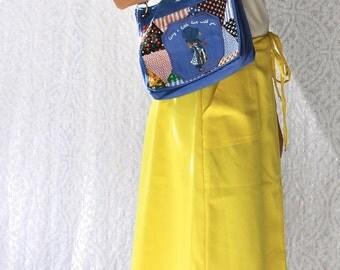 SALE || 70s Holly Hobbie Patchwork Purse || Retro 1970s Little Girls Prairie Purse. Boho Shoulder Bag. 70s Mod Handbag. Small Hippie Purse