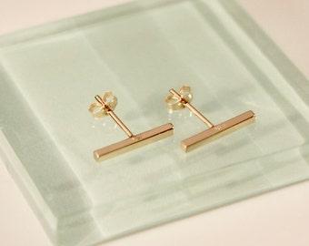 18k yellow gold bar earrings,18k/14k bar earrings,18k gold bar earrings,14k bar stud earrings,18k/10k bar stud, 18k square bar earrings