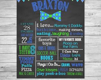 First Birthday Chalkboard Poster Printable - Bow Tie - Little Man Birthday Chalkboard, Lil Man Chalkboard, Argyle Bow Tie