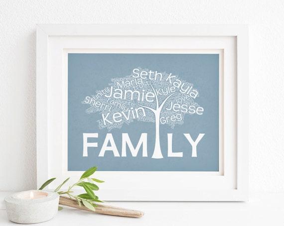 Family Tree Wedding Gift: Wedding Gift For Blended Family Print Wall Art Family Tree