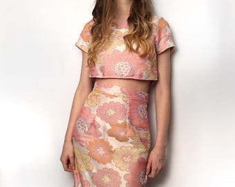 Flower Child Pencil Skirt UK size 10-12 Baby pink yellow orange sixties print floral cotton slim skirt handmade by The Emperor's Old Clothes