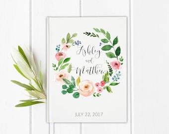 Wedding Guest Book, Blush Guest Book, Bridal Journal, Floral wreath guest book, Wedding Keepsakes, Pink guest book, Garden guest book