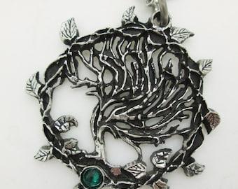 Handmade Tree of life pendant with a swarovski, Tree of Gaia, yggdrasil, viking pendant, celtic jewelry, elven necklace