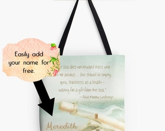Beach Tote Bag, Gift from the Sea Quote, Beach Market Bag, Aqua Mint Green Personalized Tote Bag, Custom Market Tote Bag, Artsy Tote, Gift