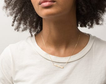 Delicate Bar Necklace: Personalized Gold Name Bar Necklace, Silver or Rose Gold • Small Skinny Bar Necklace, Dainty Nameplate • LN130_30_H