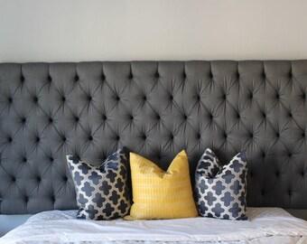 Custom Grey Diamond Tufted Headboard - Wall Mounted - Upholstered Headboard