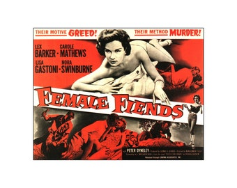 Female Fiends 1958 Classic B Movie Film Vintage Poster Print Classic Low Budget Movie Retro Art  Free US Post Low European Postage
