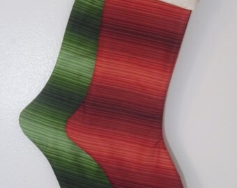 Personalized Christmas Stocking - Red and Green Ombre - Traditional Holiday stocking - Rhinestone or fabric personalization