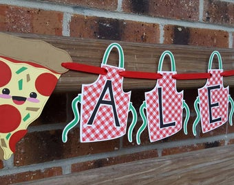 Pizza Party Banner, Chef Birthday, Little Baker Party