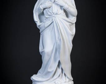 "14"" Antique Sacred Heart of Jesus Parian Statue Our Lord Christ Porcelain Figure"