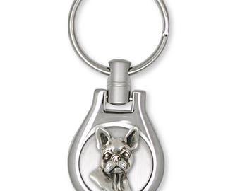 Boston Terrier Key Ring Jewelry Sterling Silver Handmade Dog Key Ring BT16-KE