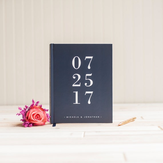 Wedding guest book personalized wedding date guestbook album scrapbook photo book instant photo wedding navy sign in hardcover memory book