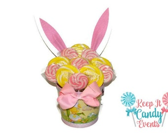 Pink and Yellow Easter Bunny Lollipop Arrangement, Easter Gift, Easter Candy,  Easter Bunny Theme, Easter Basket, Easter Basket Gift Ideas