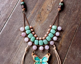 butterfly necklace, rose quartz necklace, green jade necklace, artisan ceramic pottery jewelry rustic indonesian beaded necklace blue jasper