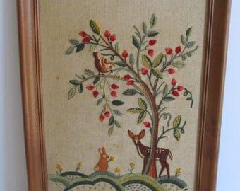 Crewel Art, Crewel, Deer Art, Fiber Art, Embroidery, Crewel Framed Art, Art, Vintage Crewel, Vintage Art, Handmade Art, Framed Art, Original