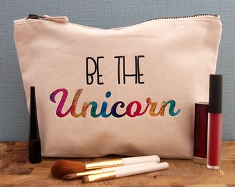 Cosmetic Bag, Makeup Bag, Make Up Bag, Makeup Pouch, Unicorn Cosmetic Bag, Unicorn Makeup Bag, Unicorn Make Up Bag, Glitter Makeup Bag