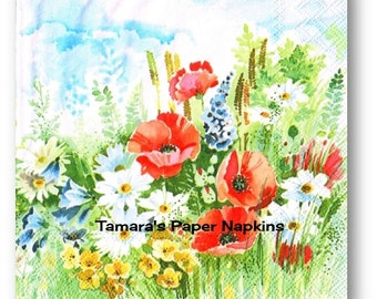 Decoupage Napkins, Single Paper Napkins, SUMMER BREEZE Floral 33cm 13 Inch. 1500 Designs for Papercraft, Visual Arts and Collage