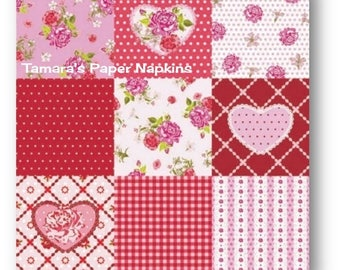 Decoupage Napkins, 4 Single Paper Napkins, ROSY HEART RED Pink Floral Patchwork 33cm 13 Inch. 1500 Designs for Papercraft, Visual Arts