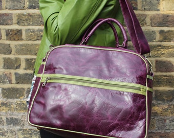 Jackie Tote purple Leather With apple Leather Trim