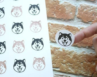 Shiba inu stickers set of 48, You can choose your favourite colour