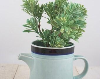 Minimal Stoneware, Small Teapot, Japanese Teapot, Retro Stoneware, Vintage Stoneware, Teapot for One, Blue Stoneware, Minimal Kitchen