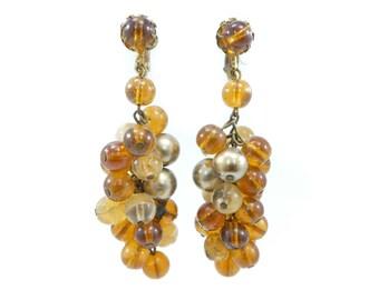 Vintage Glass Cluster Earrings, Brown Beads, Dangles, Drops, Clip Ons, Western Germany