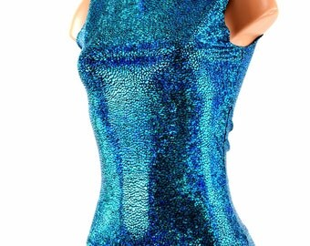 Full Length Sleeveless Holographic Top with Crew Neckline in Turquoise on Black Holographic - 153996