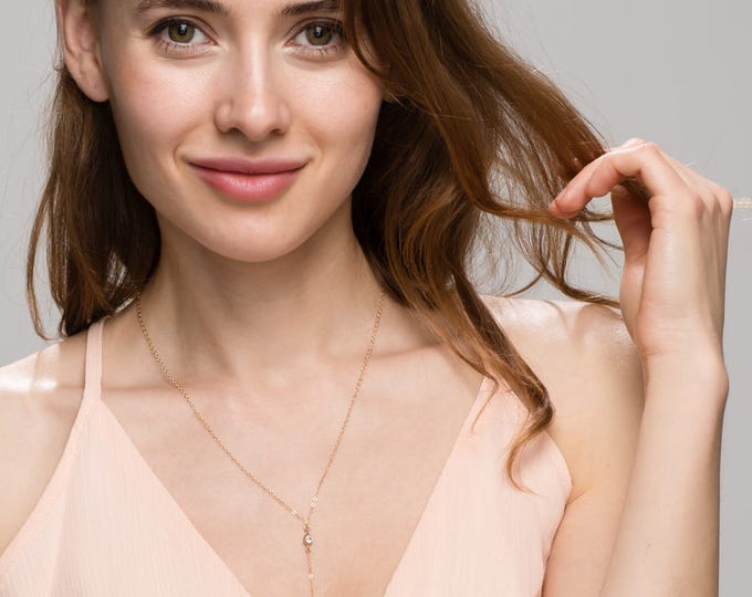 CZ Lariat / Simple and Classy Long Lariat with Shinny Cubic Zirconia / Bridesmaid Jewelry  EL3
