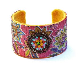 Pink Paisley Cuff Bracelet Hand Painted Boho Gypsy Jewelry FREE SHIPPING