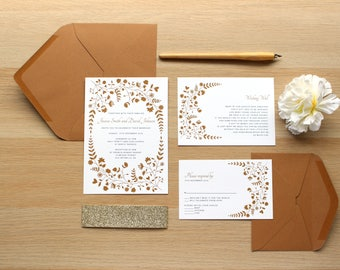 Rustic Wedding Invitation Floral, Rustic Wedding Invites, Wedding Invitation Rustic, Fall Wedding Invitations Recycled Paper