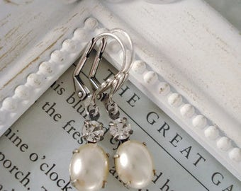 Pearl Earrings - Cream - Victorian - Wedding -  Bridal Jewelry