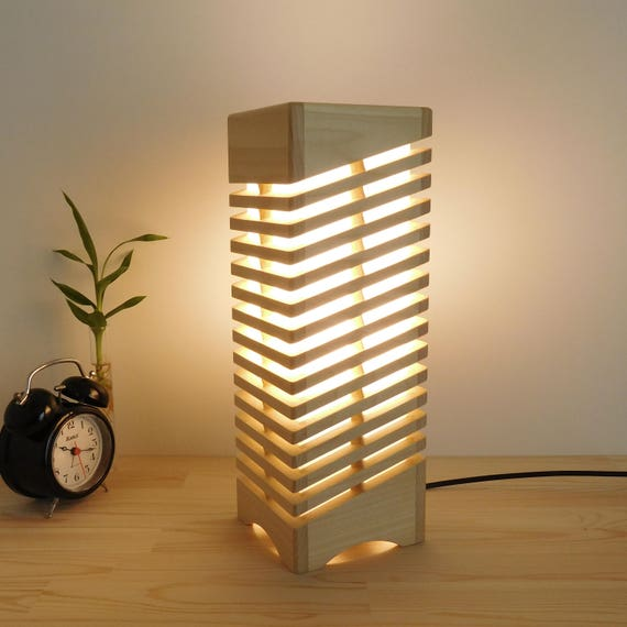 Handcrafted wood desk lamp geometric wooden lamp modern led for Wooden lighting ideas