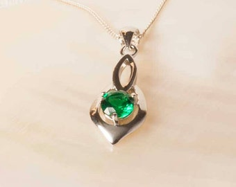 Raw emerald necklace in silver or gold may birthstone rough emerald pendant lab created emerald silver emerald pendant emerald necklace silver jewelry aloadofball Image collections