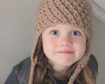 Little Girl Earflap Hat, Baby Girl Earflap Hat- Tan Earflap Hat with Pink Pom Pom