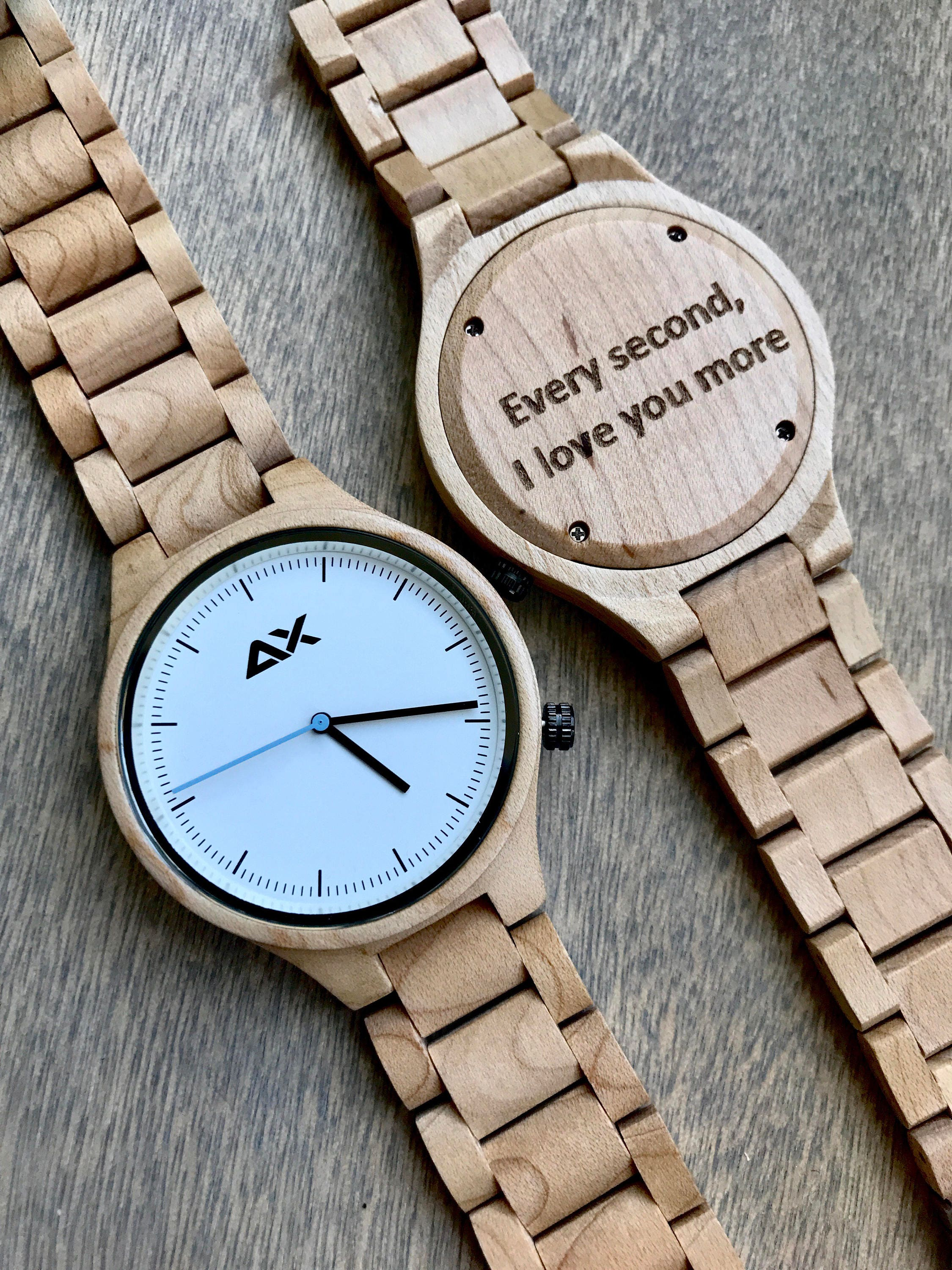 Wooden watch engraved wooden watch gift for him mens wooden watch wedding gift anniversary for Watches engraved