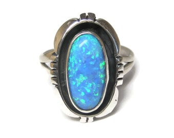 Vintage 90s Navajo Created Blue Opal Ring Size 8