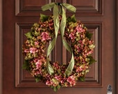 Wreath | Blended Hydrangea Wreath | Summer Wreaths | Front Door Wreaths | Fall Wreaths | Housewarming Gift | Door Decor