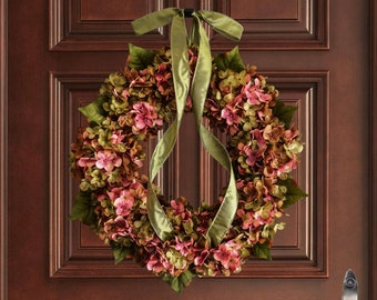 Summer Wreath | Blended Hydrangea Wreath | Summer Wreaths | Front Door Wreaths | Fall Wreaths | Housewarming Gift | Door Decor