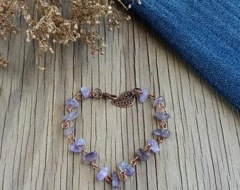 Amethyst bracelet Everyday bracelet Gift for her Stone bracelet Copper jewelry Purple bracelet Amethyst jewelry Gift idea Gemstone bracelet