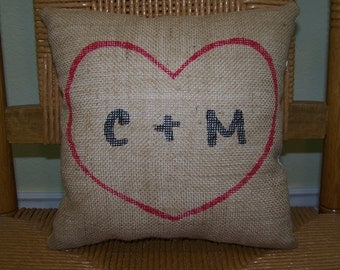Heart pillow, Personalized pillow, Initial pillow, red pillow, wedding gift, Love pillow, Anniversary, Valentine's gift, FREE SHIPPING!