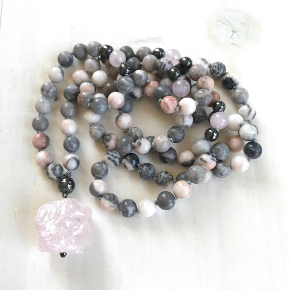 Rose Quartz Mala Beads, Open The Heart To Love Mala Necklace, Pink Zebra Jasper Mala, Yoga Meditation Beads, 108 Bead Hand Knotted Mala