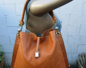 80s Large Leather Caramel Brown Bag Purse Tote Handbag Vintage Large XL Made in Italy Italian Leather 1980s 90s 1990s
