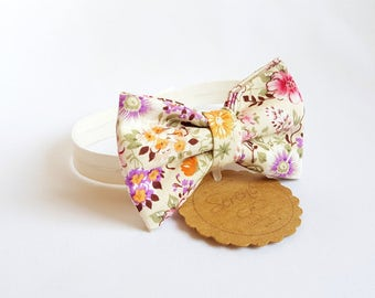 White Child bow tie with pink yellow and violet flowers, floral bow tie, baby bow tie, gift ideas, cotton bow tie