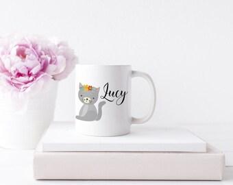 cute cat mug, cat mug, personalised cat mug, personalised mug, cat, cute cat illustration, customised mug, customised cat mug, cat present