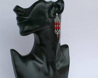 Long Coral Earrings, Red Coral Earrings, Coral Chandelier Earrings, Untreated Mediterranean Coral Sterling Silver Earrings, Unique Artisan