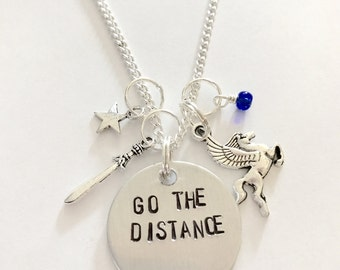 "Disney Hercules Inspired Hand-Stamped Necklace - ""Go The Distance"""
